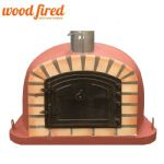 BRICK RED DELUXE EXTRA WOOD FIRED PIZZA OVEN 90CM OR 100CM, ORANGE ARCH, BROWN CAST IRON DOOR